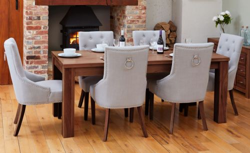 Shiro Walnut Extending Dining Table and Chair Sets